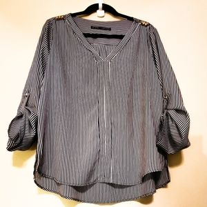 Zara Basic Rolled Up Striped Sleeves Top/Blouse